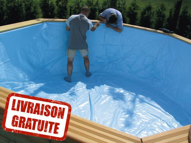 Liner pour piscine octoo 420 h120 gardipool piscines bois for Prix liner pour piscine