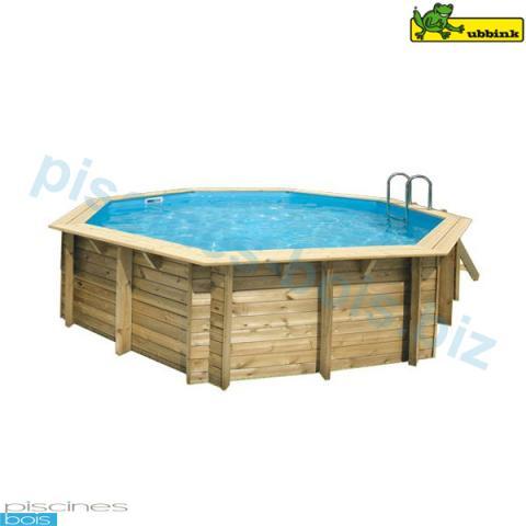 Piscine bois octogonale oc a 510 cm cm ubbink for Enrouleur bache piscine bois octogonale