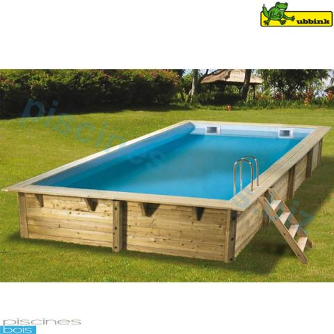 Piscine bois rectangulaire lin a 350 x 650 cm for Piscine bois rectangulaire