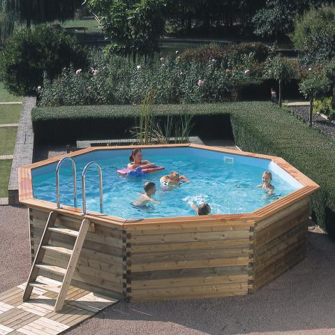 Piscine gardipool octoo 4 20 x 1 20m avec margelles en pin for Piscine autoportante 1m20