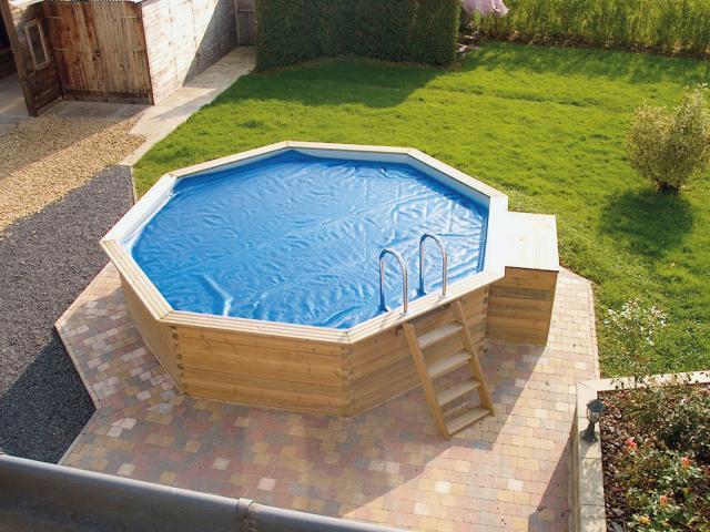 Piscine bois octogonale gardipool octoo 5m x 1 33m for Piscine bois sans filtration