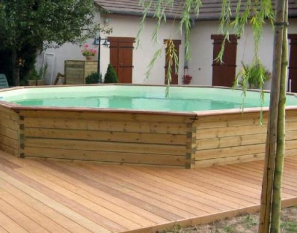 Piscine bois octogonale gardipool octoo 5m x 1m20 for Piscine bois 5m